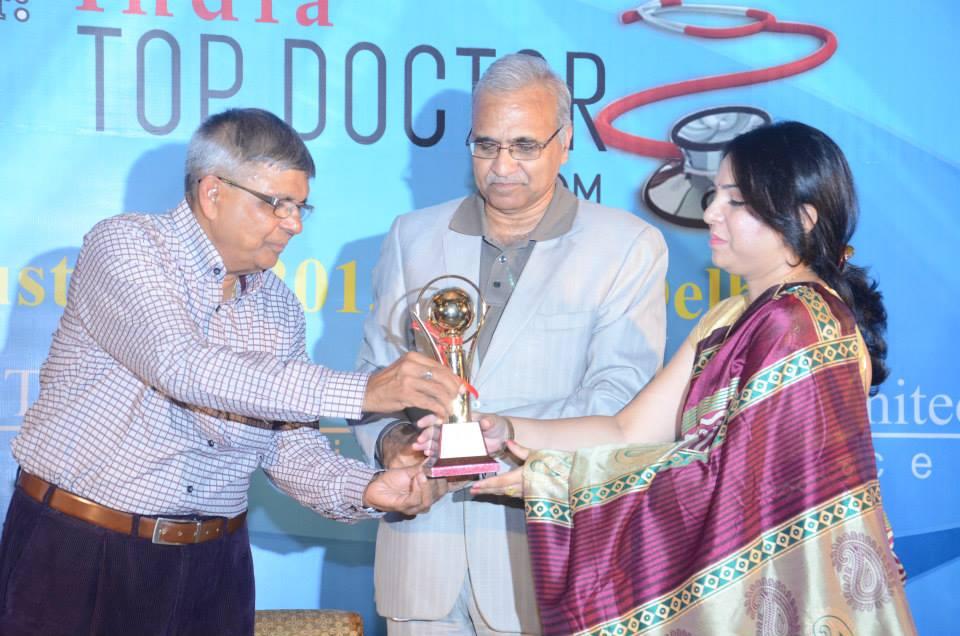 Receiving the Trophy